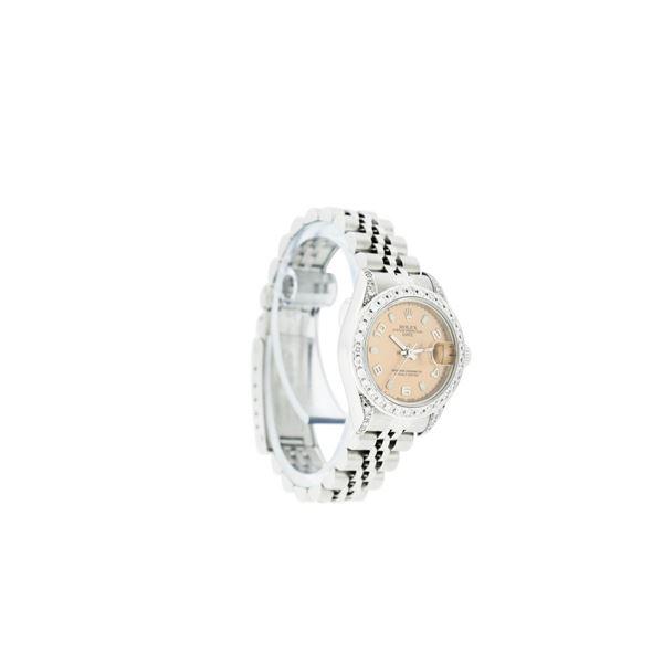 Rolex Ladies Stainless Steel Quickset Salmon Diamond Lugs Datejust Wristwatch