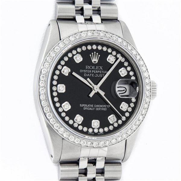 Rolex Mens 36 Stainless Steel Black String Diamond 36MM Oyster Perpetaul Datejus