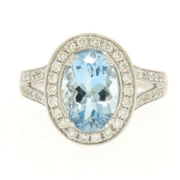 Modern 18K White Gold 3.07 ctw Oval Aquamarine Diamond Sylvie Split Shank Ring