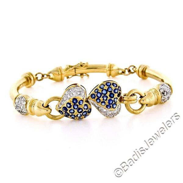 18kt Yellow Gold 1.58 ctw Diamond and Sapphire Dual Heart Curved Tube Link Brace