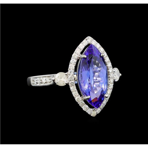 14KT White Gold 2.78 ctw Tanzanite and Diamond Ring