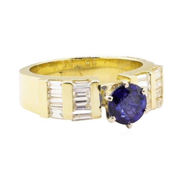1.95 ctw Blue Sapphire And Diamond Ring - 14KT Yellow Gold