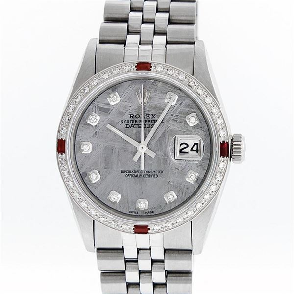 Rolex Mens Stainless Steel Meteorite Diamond And Ruby Datejust Wristwatch 36MM