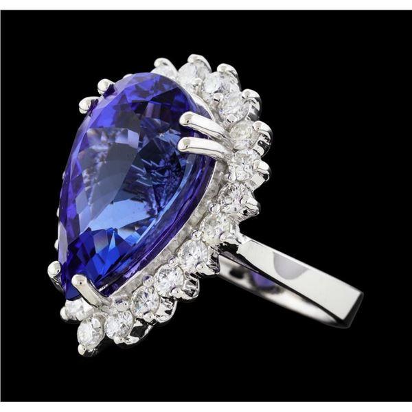 14.11 ctw Tanzanite and Diamond Ring - 14KT White Gold