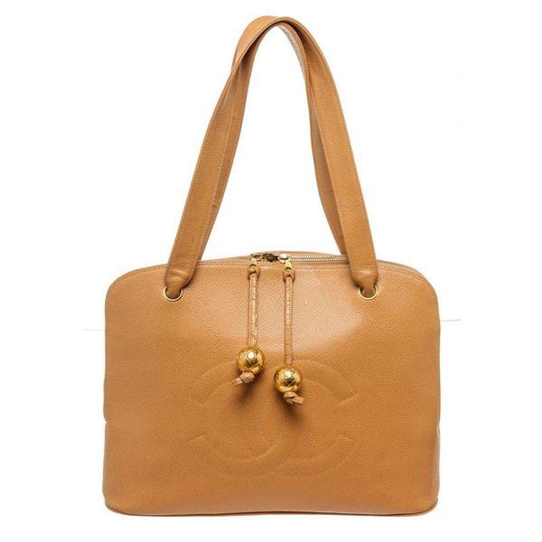 Chanel Brown Leather CC Shoulder Bag