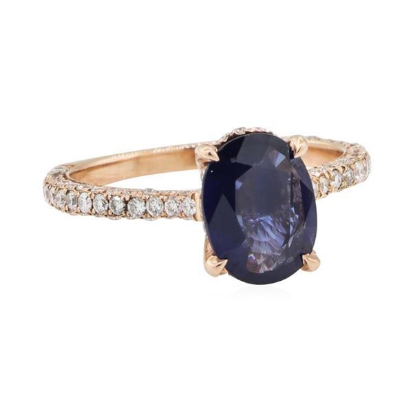2.15 ctw Sapphire and Diamond Ring - 14KT Rose Gold