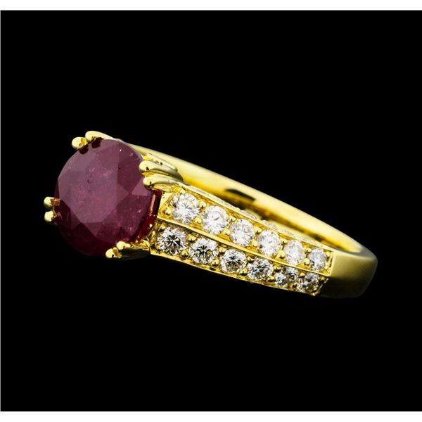 2.54 ctw Ruby And Diamond Ring - 18KT Yellow Gold