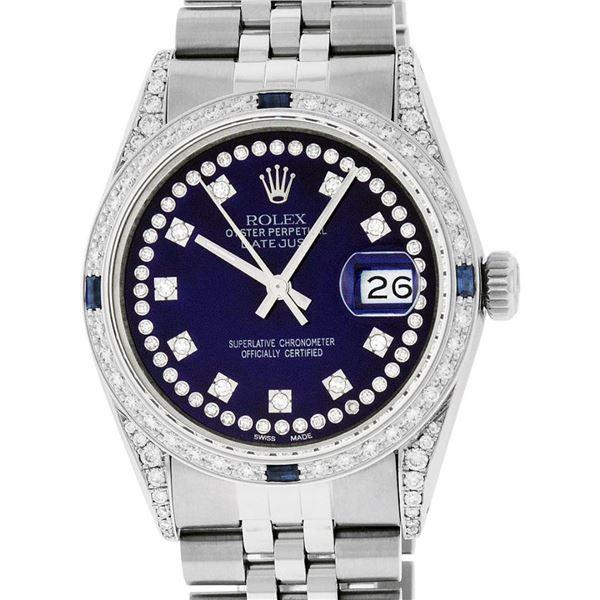 Rolex Mens Stainless Steel Blue String Diamond Lugs & Sapphire Datejust Wristwat