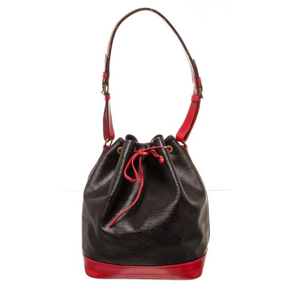 Louis Vuitton Black Red Epi leather Noe GM Bucket Bag