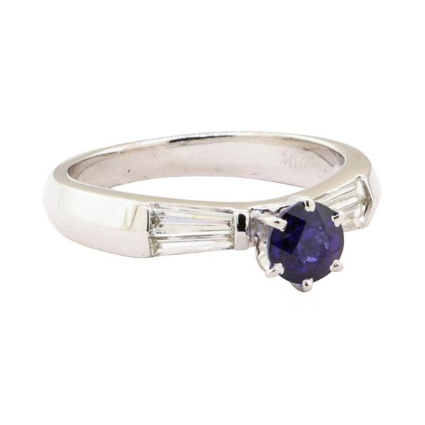 1.15 ctw Blue Sapphire And Diamond Ring - 18KT White Gold