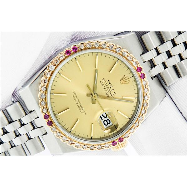 Rolex Mens 2T Oyster Quartz Champagne Index YG Ruby SS Jubilee Band