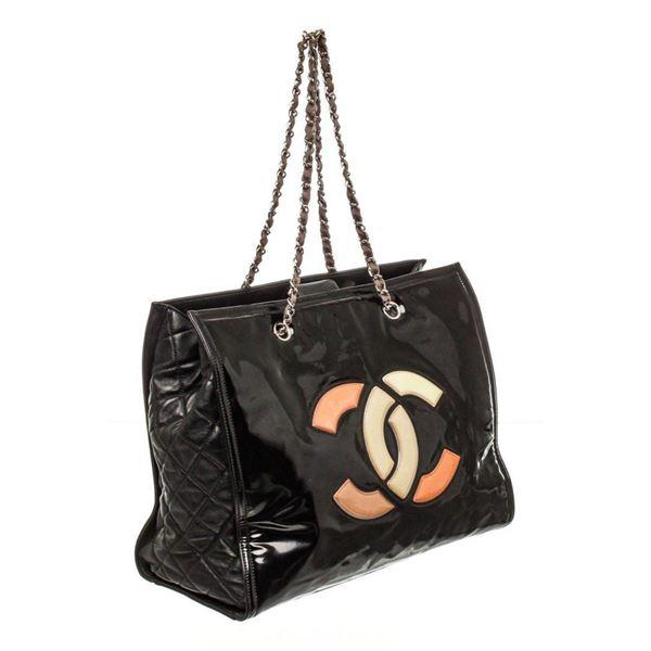 Chanel Black Patent Leather CC Lipstick Tote Bag