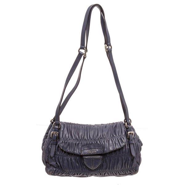 Prada Navy Blue Nappa Leather Gaufre Shoulder Bag