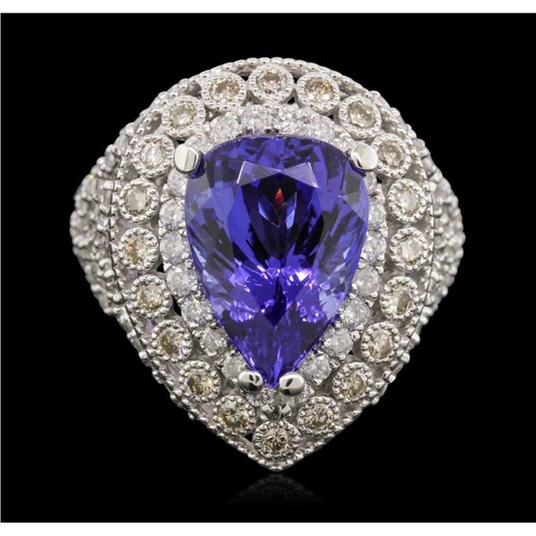 14KT White Gold 9.78 ctw Tanzanite and Diamond Ring
