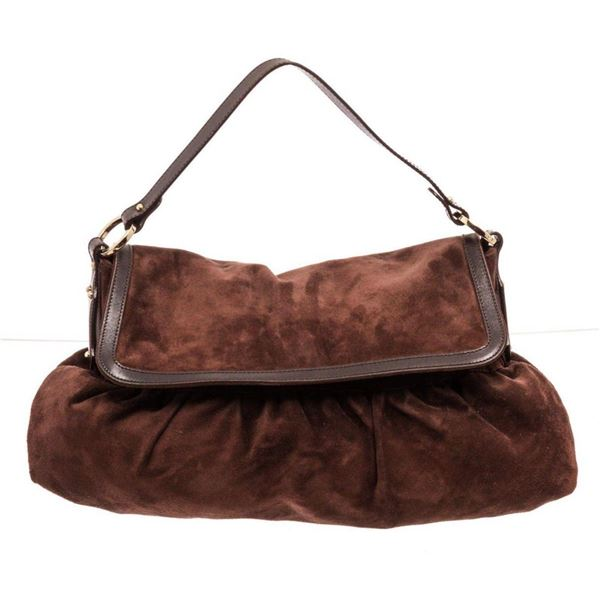 Fendi Brown Leather Large Suede Chef Hobos Bag