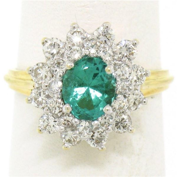 18k Yellow Gold 1.83 ctw Oval Colombian Emerald Solitaire Dual Diamond Halo Ring