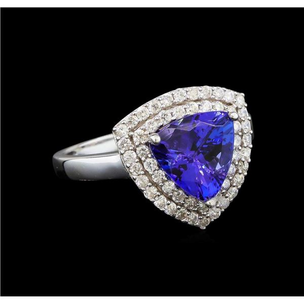 14KT White Gold 2.09 ctw Tanzanite and Diamond Ring