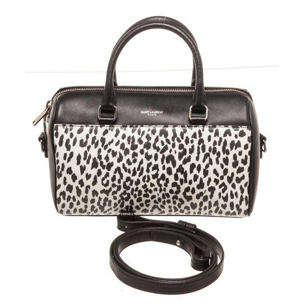 Yves Saint Laurent Black White Baby Duffle Crossbody Bag