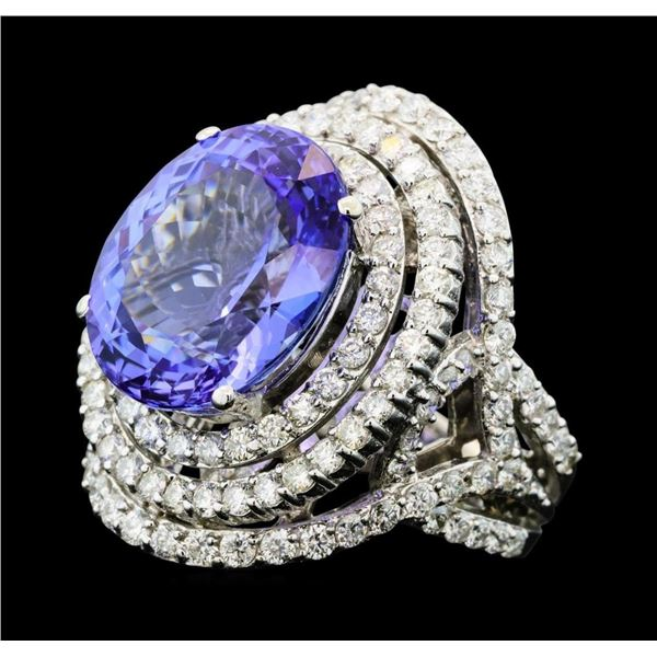 13.82 Tanzanite and Diamond Ring - 14KT White Gold