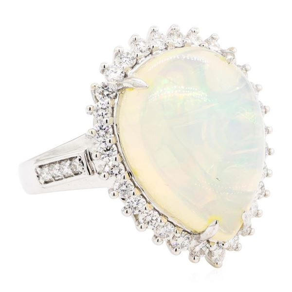 9.12 ctw Cabochon Pear Crystal Opal And Round Brilliant Cut Diamond Ring - 14KT