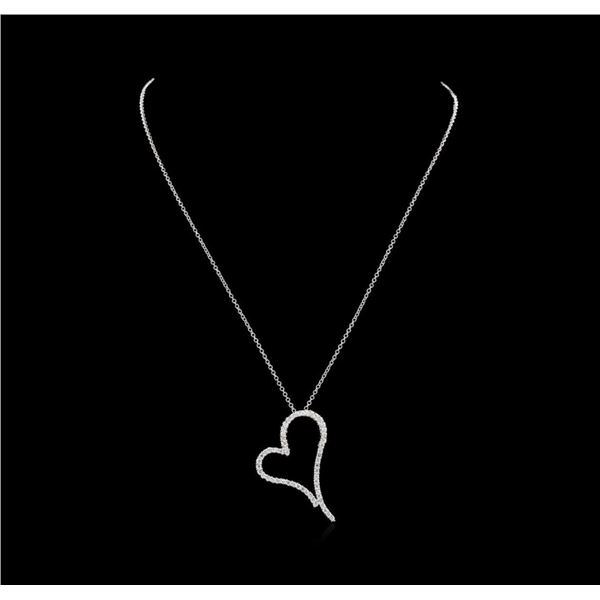 1.18 ctw Diamond Heart Pendant With Chain - 14KT White Gold