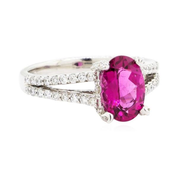 2.56 ctw Oval Mixed Rubellite And Round Brilliant Cut Diamond Ring - 14KT White