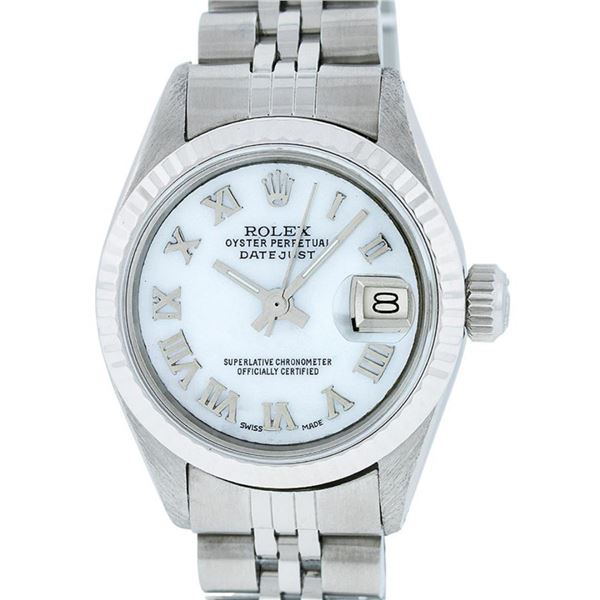Rolex Ladies Stainless Steel Mother Of Pearl Oyster Perpetual Datejust Wristwatc