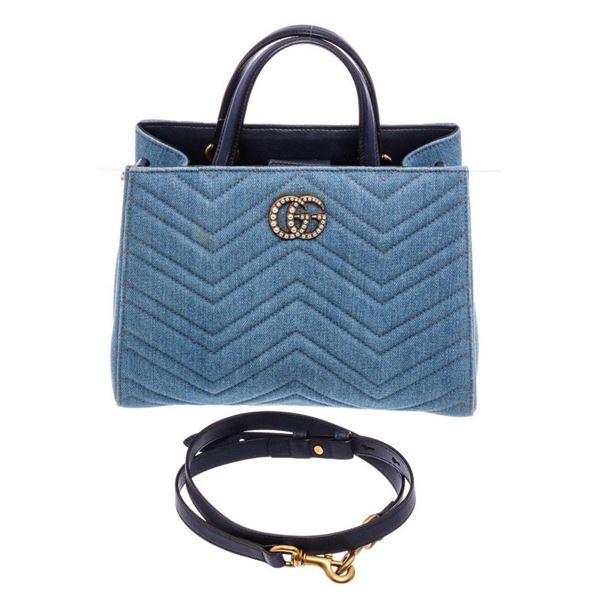 Gucci Light Blue Wash Matelasse Denim Small GG Satchel Bag