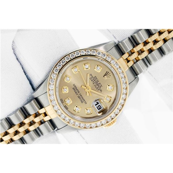 Rolex Ladies 2 Tone 18K Champagne Diamond Datejust Wristwatch With Rolex Box