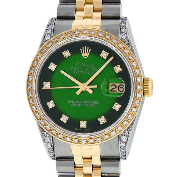 Rolex Mens 2 Tone Green Vignette Diamond Lugs Datejust Wristwatch