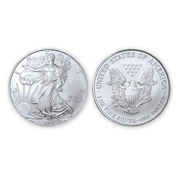2004 American Silver Eagle .999 Fine Silver Dollar Coin