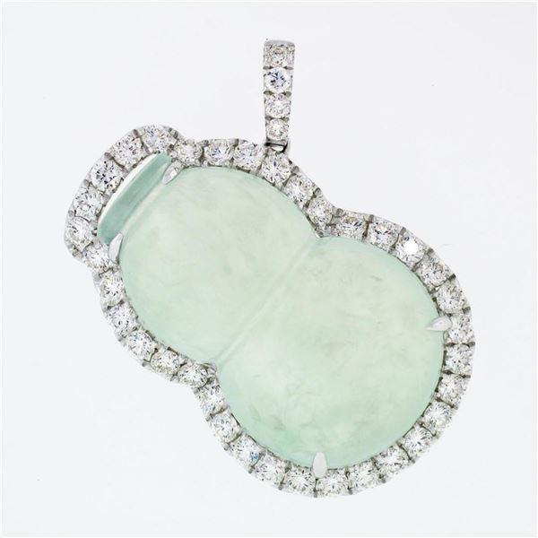 18k White Gold AGL Carved Grayish Green Jadeite Jade VS F 2.1 ctw Diamond Pendan