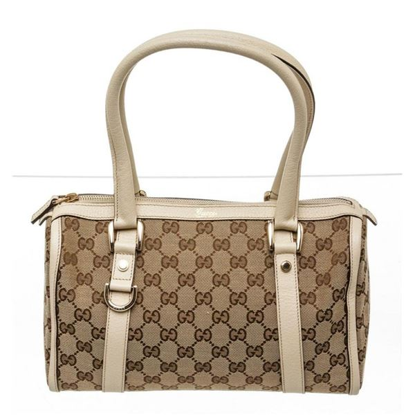 Gucci Beige GG Canvas Leather Abbey Boston Bag