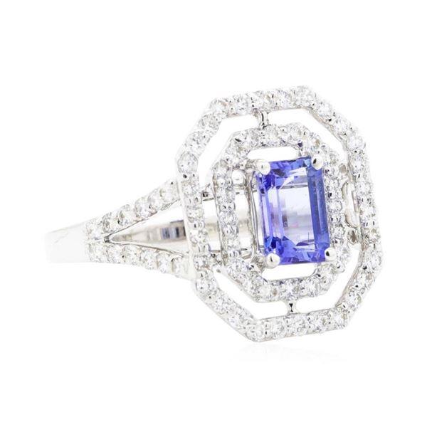 2.24 ctw Emerald Cut Step Tanzanite And Round Brilliant Cut Diamond Ring - 14KT