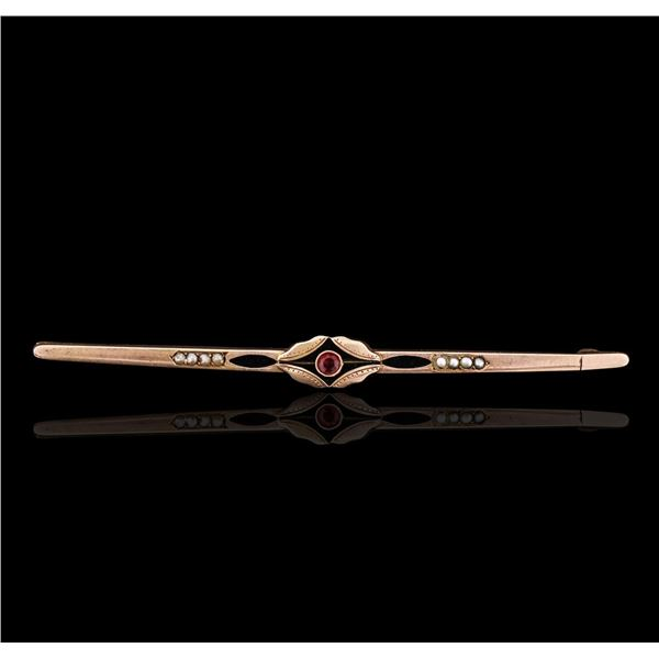 14KT Rose Gold 0.17 ctw Ruby and Pearl Antique Pin