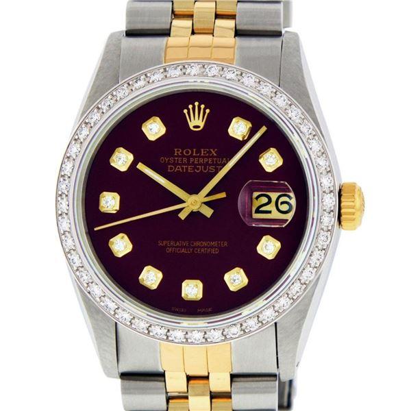 Rolex Mens 2 Tone Maroon Diamond 36MM Datejust Wristwatch