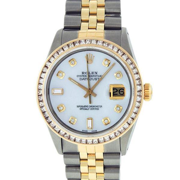 Rolex Mens 2 Tone MOP Princess Cut Diamond Datejust Wristwatch With Rolex Box