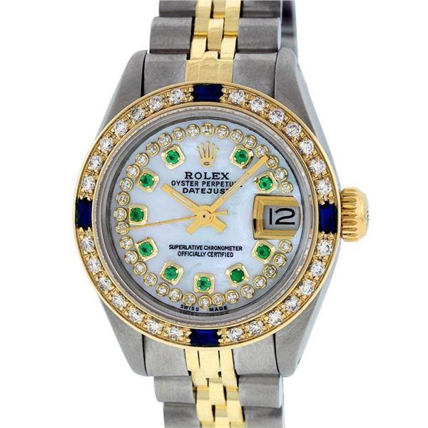 Rolex Ladies 2 Tone MOP Emerald String & Sapphire Diamond Datejust Wriswatch