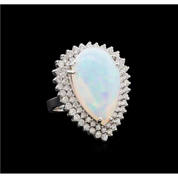 8.65 ctw Opal and Diamond Ring - 14KT White Gold
