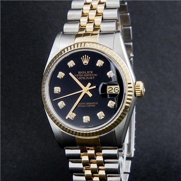 Rolex Mens 2 Tone Black Diamond 36MM Oyster Perpetual Datejust Wristwatch