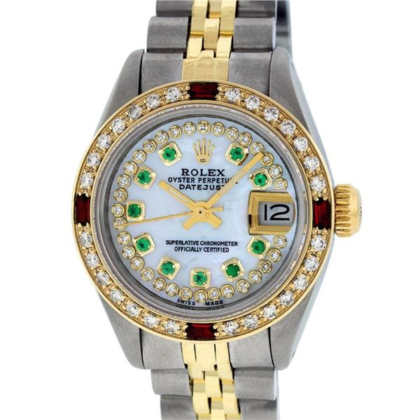 Rolex Ladies 2T MOP Emerald & Ruby Diamond Oyster Perpetual Datejust Wriswatch
