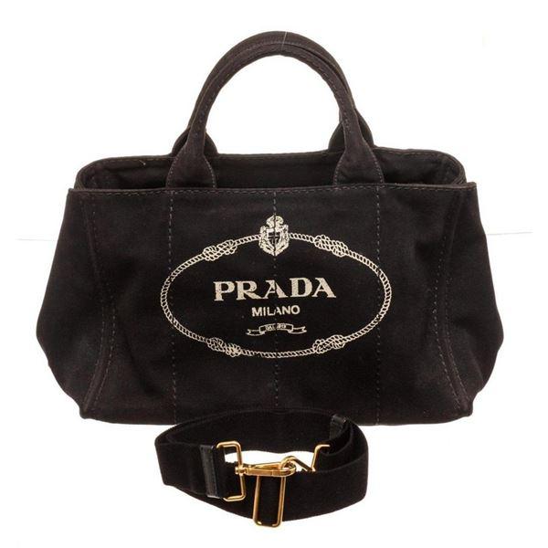 Prada Black Canapa Tote Bag