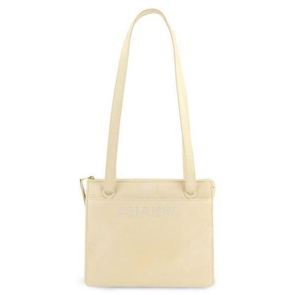 Chanel Vintage Beige Leather Logo Shoulder Bag
