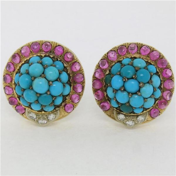 Vintage 14K Yellow Gold 3.56 ctw Turquoise Diamond & Ruby Cluster Button Earring