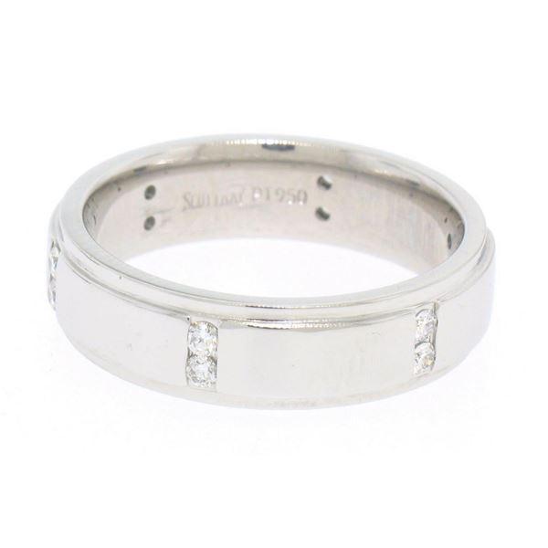 Men's Scott Kay Platinum .24 ctw Channel Diamond Solid Wide Wedding Band Ring