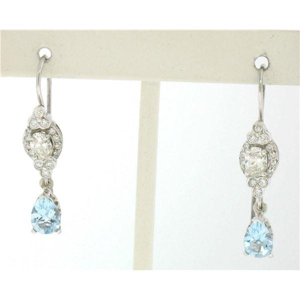 18K Solid White Gold Dangle Drop Earrings w/ an Oval Diamond & Pear Aquamarine