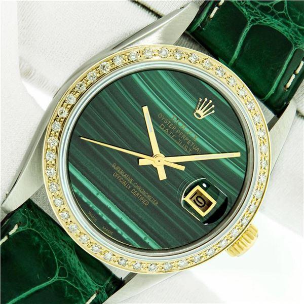 Rolex Datejust Mens 36 Green Malachite Diamond Bezel 18K/SS Oyster Perpetual