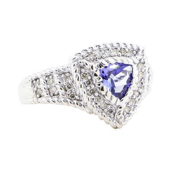 1.15 ctw Tanzanite And Diamond Ring - 14KT White Gold