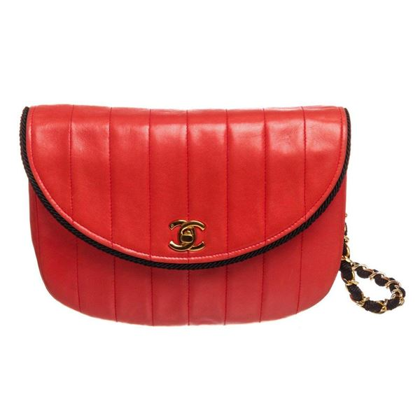 Chanel Red Lambskin Leather Stripe Round Flap Bag