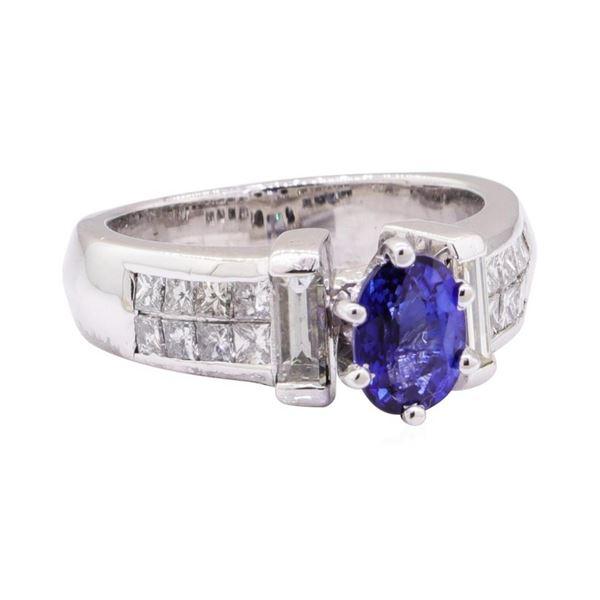 2.29 ctw Blue Sapphire And Diamond Ring - Platinum